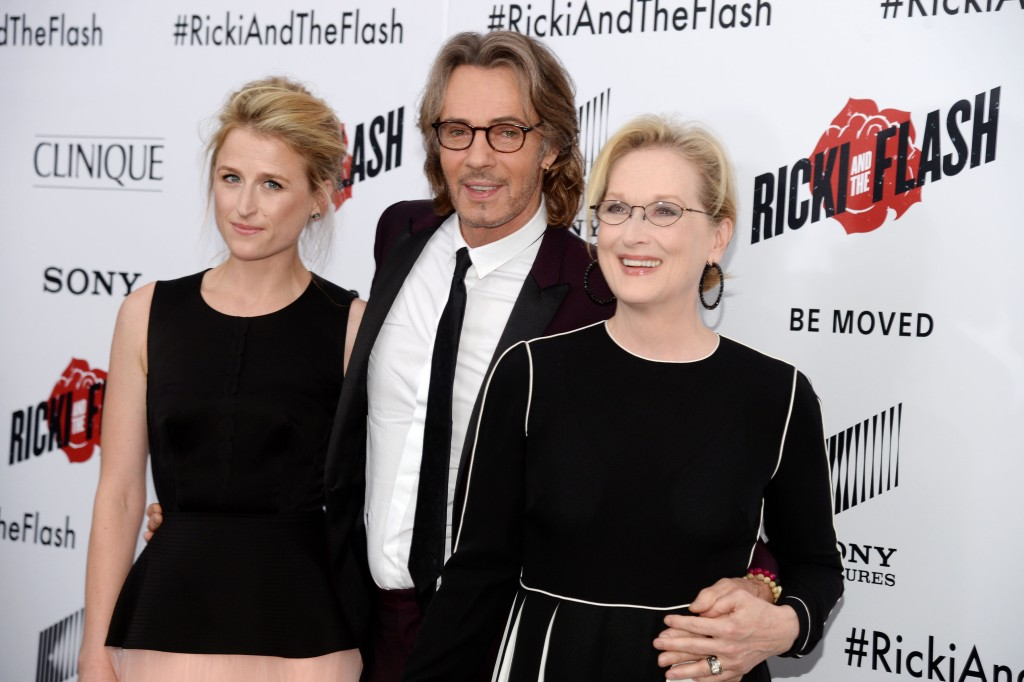 "Mamie Gummer, Rick Springfield, Meryl Streep== TriStar Pictures with Clinique host the premiere of ""Ricki and the Flash""== AMC Loews Lincoln Square, NYC== August 3, 2015== ©Patrick McMullan== Photo - Clint Spaulding/PatrickMcMullan.com== =="