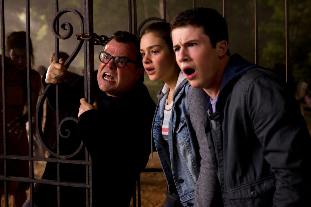 """L-r, Jack Black, Odeya Rush and Dylan Minnette star in Columbia Pictures' """"Goosebumps."""""""