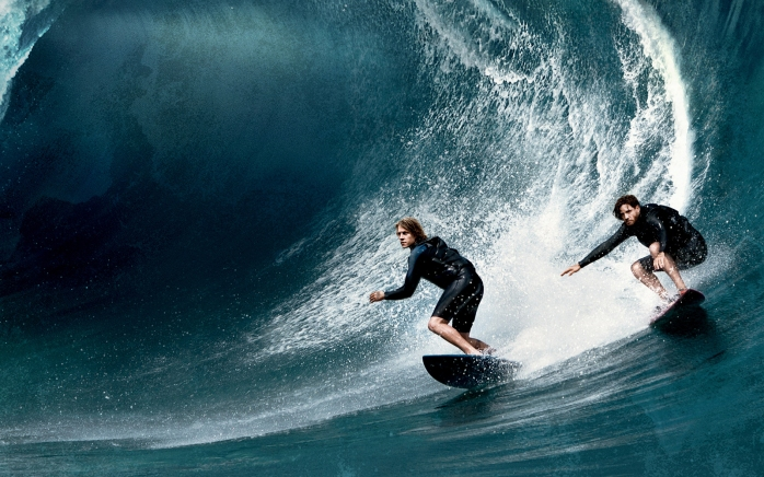 luke bracey and edgar ramirez in POINT BREAK