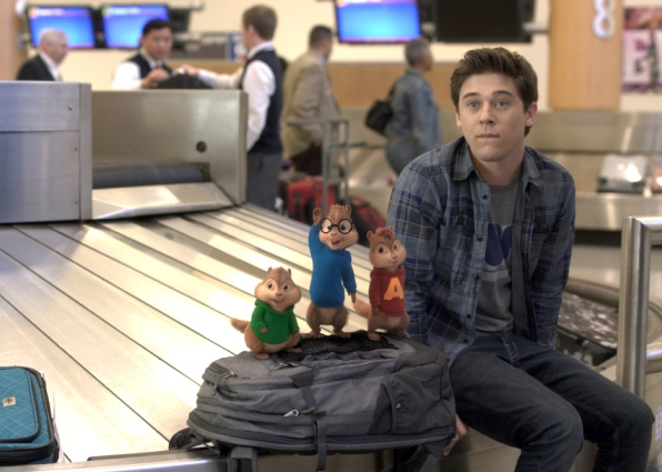 ALVIN AND THE CHIPMUNKS: THE ROAD CHIP Miles (Josh Green) and the Chipmunks face a challenge at the airport during their eventful Road Chip. Photo credit: Courtesy of Twentieth Century Fox Alvin and The Chipmunks, The Chipettes and Characters TM & © 2015 Bagdasarian Productions, LLC. All rights reserved. © 2015 Twentieth Century Fox and Regency Enterprises. All rights reserved. Not for sale or duplication.