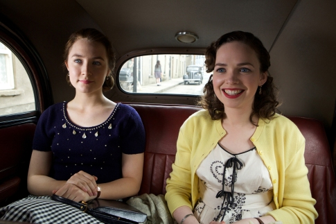 """Saoirse Ronan as """"Eilis"""" and Eileen O'Higgins as """"Nancy"""" in BROOKLYN. Photo by Kerry Brown. © 2015 Twentieth Century Fox Film Corporation All Rights Reserved"""