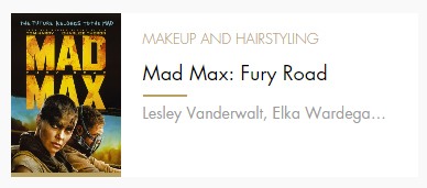 Makeup and Hairstyling Mad Max