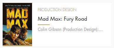 Production Design Mad Max