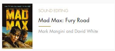 Sound Editing Mad Max