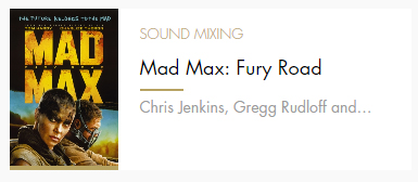 Sound Mixing Mad Max