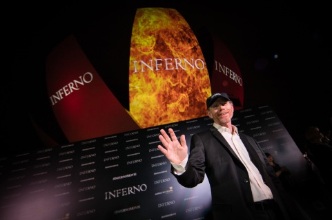 """Director Ron Howard, actor Tom Hanks and Irrfan Khan attends the """"Inferno"""" red carpet and photo call at the ArtScience Museum at Marina Bay Sands on June 14, 2016 in Singapore."""