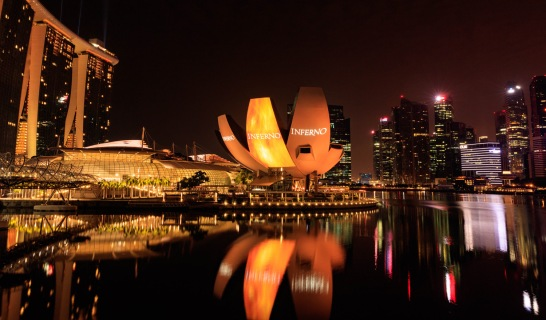 """""""Inferno"""" projections are seen during the red carpet and photo call at the ArtScience Museum at Marina Bay Sands on June 14, 2016 in Singapore."""