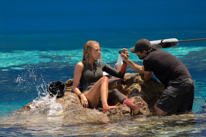 Blake Lively and Director Jaume Collet-Sera on the set of Columbia Picture's THE SHALLOWS.