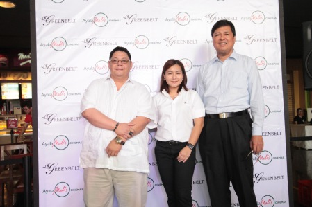 Ayala Malls Cinemas General Manager Amir Precilla, Ayala Malls Cinemas Deputy Manager Roalndo Duenas and Greenbelt General Manager Mina Domingo