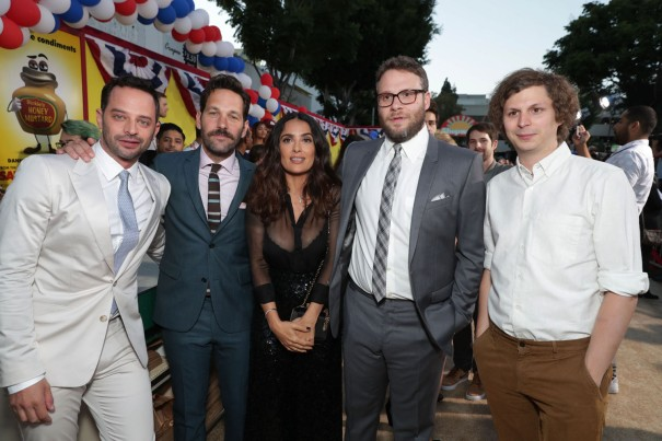 "Nick Kroll, Paul Rudd, Salma Hayek, Seth Rogen and Michael Cera seen at Columbia Pictures and AnnaPurna World Premiere of ""Sausage Party"" on Tuesday, August 9, 2016, in Los Angeles."
