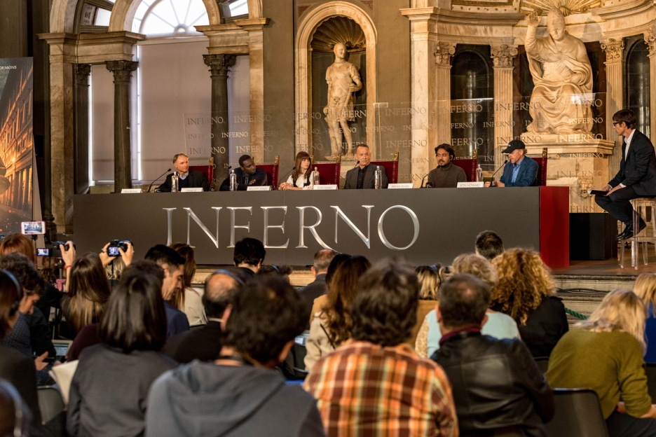 Director, Ron Howard ; Tom Hanks; Felicity Jones; Omar Sy; Irrfan Khan and author, Dan Brown attend photo call and press conference in Florence, Italy.