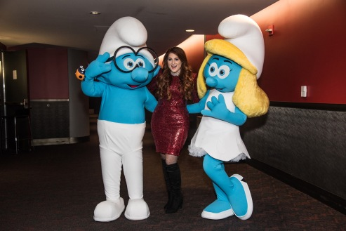 Backstage with Brainy, Meghan Trainor and Smurfette at Jingle Ball 2016 for Columbia Pictures and Sony Picture Animations' SMURFS: THE LOST VILLAGE.