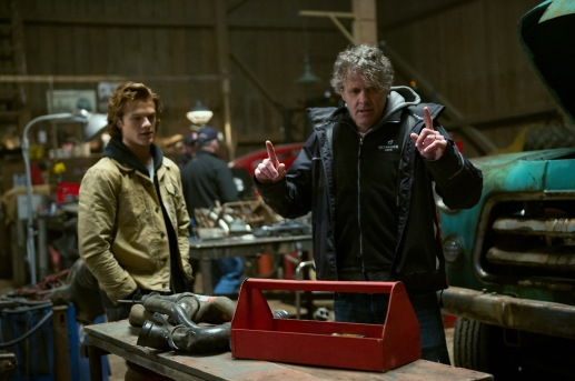 Lucas Till who plays Tripp and Director Chris Wedge on the set of Monster Trucks from Paramount Pictures.