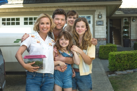 From left to right: Nan Phillips (Radha Mitchell), Mack Phillips (Sam Worthington), Missy Phillips (Emelie Eve), Josh Phillips (Gage Munroe) and Kate Phillips (Megan Charpentier) in THE SHACK.