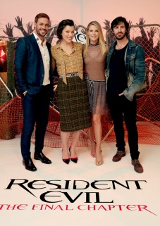 """Los Angeles, CA - Saturday, Jan. 7: William Levy, Milla Jovovich, Ali Larter and Eoin Macken at the Screen Gems' """"Resident Evil: The Final Chapter"""" Photo Call at The London Hotel of West Hollywood.(Photo by Eric Charbonneau/Invision for Sony Pictures/AP Images)"""