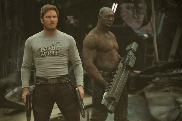 Guardians Of The Galaxy Vol. 2..L to R: Star-Lord/Peter Quill (Chris Pratt) and Drax (Dave Bautista)..Ph: Chuck Zlotnick..©Marvel Studios 2017