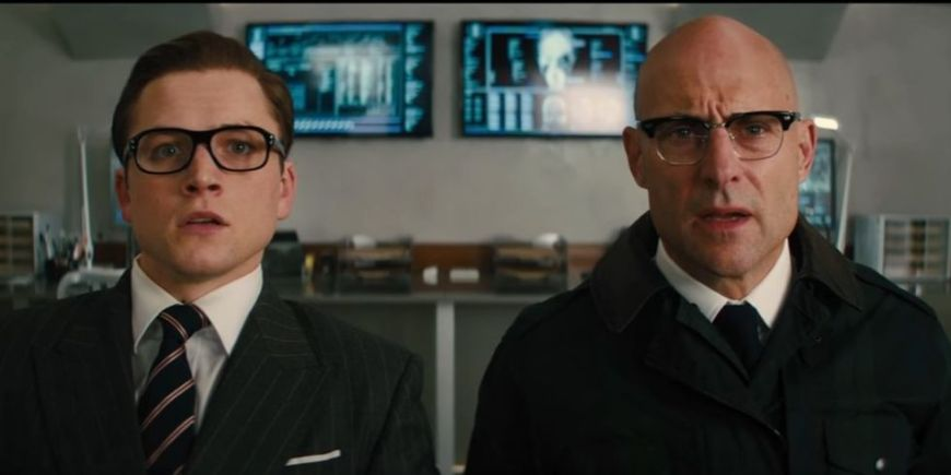 taron egerton & mark strong in KINGSMAN THE GOLDEN CIRCLE