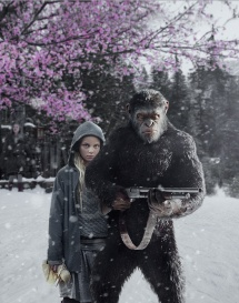 amiah miller as nova and andy serkis as caesar in WAR FOR THE PLANET OF THE APES