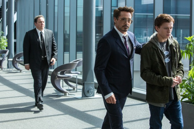 (l to r) Jon Favreau, Robert Downey Jr. and Tom Holland in Columbia Pictures' SPIDER-MAN™: HOMECOMING.