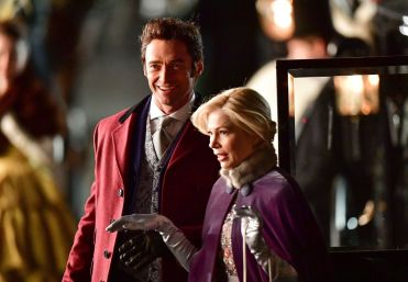 """NEW YORK, NY - APRIL 01: Hugh Jackman and Michelle Williams filming on location for """"The Greatest Showman"""" at 60 Centre Street on April 1, 2017 in New York City. (Photo by James Devaney/GC Images)"""
