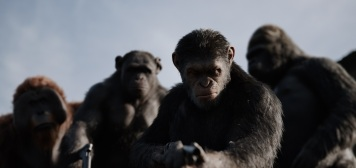 """L-r, Karin Konoval, Terry Notary, Andy Serkis and Michael Adamthwaite in Twentieth Century Fox's """"War for the Planet of the Apes."""""""