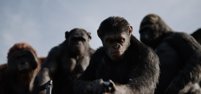 "L-r, Karin Konoval, Terry Notary, Andy Serkis and Michael Adamthwaite in Twentieth Century Fox's ""War for the Planet of the Apes."""