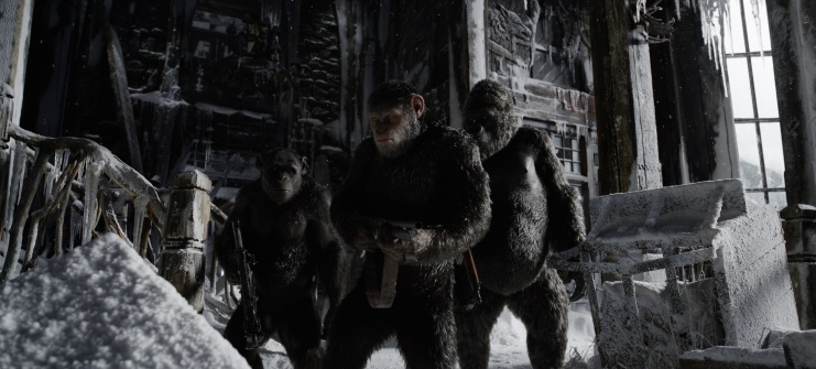 """L-r, Terry Notary, Andy Serkis and Michael Adamthwaite in Twentieth Century Fox's """"War for the Planet of the Apes."""""""