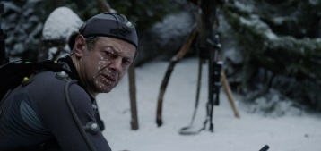 """Andy Serkis on the set of Twentieth Century Fox's """"War for the Planet of the Apes."""""""