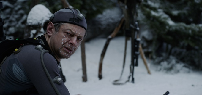 "Andy Serkis on the set of Twentieth Century Fox's ""War for the Planet of the Apes."""