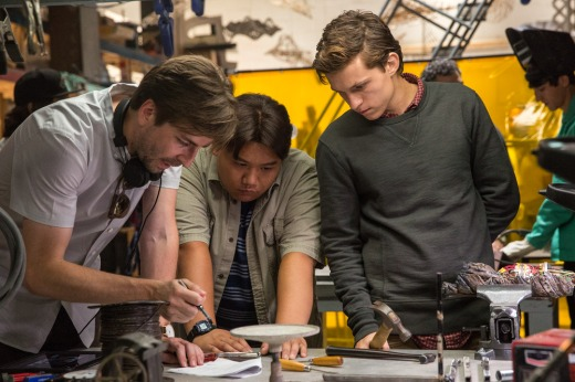 Director Jon Watts, Jacob Batalon and Tom Holland on the set of Columbia Pictures' SPIDER-MAN™: HOMECOMING.