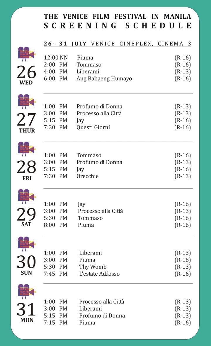 Venice Film Festival Screening Schedule