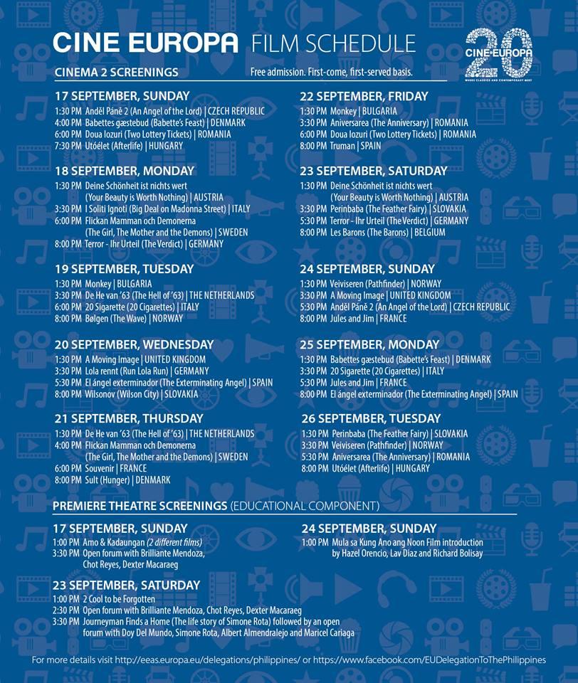 Cine Europa Schedule