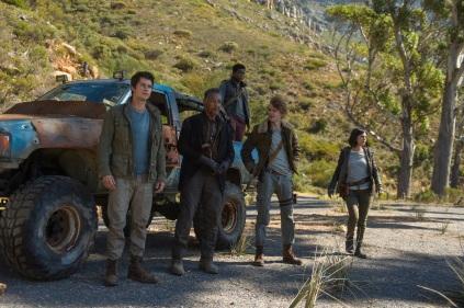 "L-r, Dylan O'Brien, Giancarlo Esposito, Thomas Brodie-Sangster, Rosa Salazar and Dexter Darden (truckbed) in Twentieth Century Fox's ""Maze Runner: The Death Cure."""