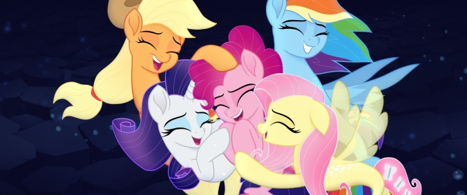 From L to R: APPLEJACK (Ashleigh Ball), RARITY (Tabitha St. Germain), PINKIE PIE (Andrea Libman), FLUTTERSHY (Andrea Libman) and RAINBOW DASH (Ashleigh Ball) in MY LITTLE PONY: THE MOVIE.