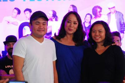 directors Fatrick Tabada and Rae Red with Si Chedeng At Si Apple star Gloria Diaz