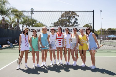 (From L-R): Natalie Morales, Martha MacIsaac, Mickey Summer, Bridey Elliott, Kaitlyn Christian, Fidan Manashirova, Lauren Kline, Ashley Weingold and Emma Stone in the film BATTLE OF THE SEXES. Photo by Melinda Sue Gordon. © 2017