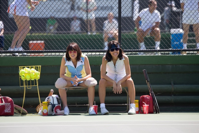 Emma Stone and Natalie Morales in the film BATTLE OF THE SEXES. Photo by Melinda Sue Gordon. © 2017 Twentieth Century Fox Film Corporation All Rights Reserved