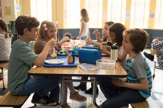 "From L to R: Noah Jupe as ""Jack Will,"" Elle McKinnon as ""Charlotte,"" Mille Davis as ""Summer"" and Jacob Tremblay as ""Auggie"" in WONDER."