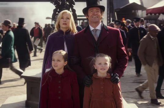 michelle williams and hugh jackman in THE GREATEST SHOWMAN