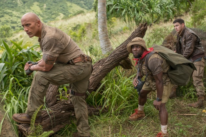 Dwayne Johnson, Kevin Hart and Nick Jonas star in JUMANJI: WELCOME TO THE JUNGLE.