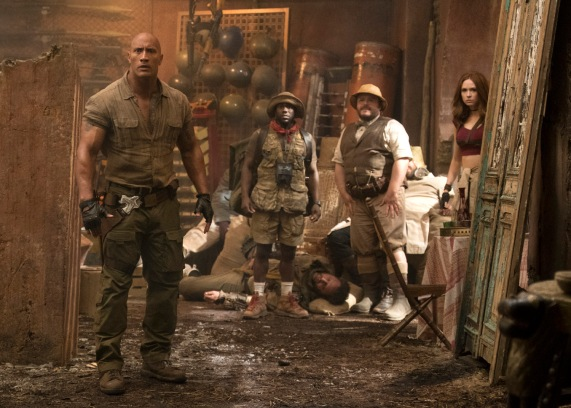 Dwayne Johnson, Kevin Hart , Jack Black and Karen Gillan star in JUMANJI: WELCOME TO THE JUNGLE.