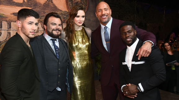 Mandatory Credit: Photo by Michael Buckner/Variety/REX/Shutterstock (9276695f) Nick Jonas, Jack Black, Karen Gillan, Dwayne Johnson and Kevin Hart 'Jumanji: Welcome to the Jungle' film premiere, Arrivals, Los Angeles, USA - 11 Dec 2017