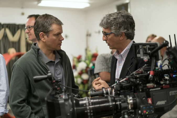 Matt Damon and Director Alexander Payne on the set of Downsizing from Paramount Pictures.