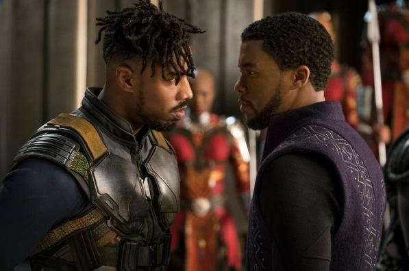 Marvel Studios' BLACK PANTHER..L to R: Erik Killmonger (Michael B. Jordan) and T'Challa/Black Panther (Chadwick Boseman)..Photo: Matt Kennedy..©Marvel Studios 2018