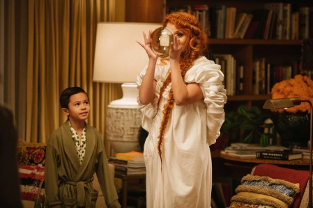 Reese Witherspoon is Mrs. Whatsit and Deric McCabe is Charles Wallace Murry in Disney's A WRINKLE IN TIME.