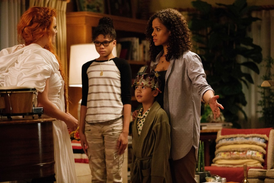 Reese Witherspoon is Mrs Whatsit, Storm Reid is Meg Murry, Deric McCabe is Charles Wallace Murry and Gugu Mbatha-Raw is Mrs. Murry in Disney's A WRINKLE IN TIME.