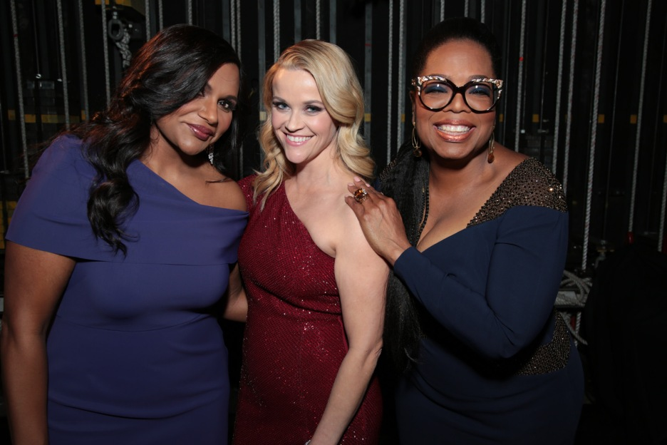 "Mindy Kaling, Resse Witherspoon and Oprah Winfrey pose together as Disney presents the world premiere of ""A Wrinkle in Time"" at the El Capitan Theater in Los Angeles, CA on February 26, 2018. (Photo: Alex J. Berliner/ABImages)"
