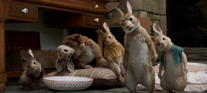 Flopsy (Margot Robbie), Benjamin (Colin Moody), Mopsy (Elizabeth Debicki), Peter (James Corden) and Cottontail (Daisy Ridley) in Columbia Pictures' PETER RABBIT.