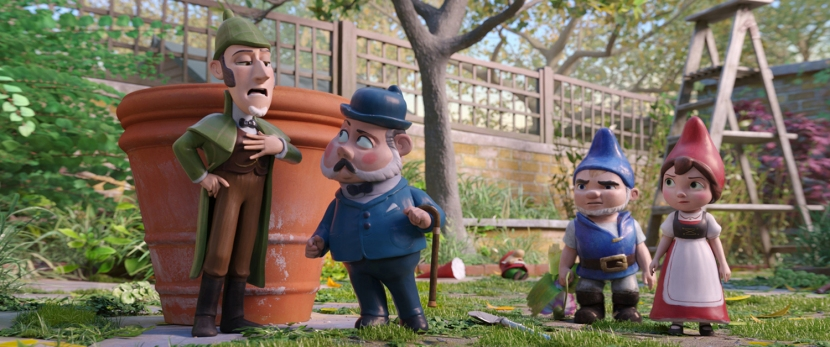 Sherlock Gnomes (Johnny Depp), Dr. Watson (Chiwetel Ejiofor), Gnomeo (James McAvoy) and Juliet (Emily Blunt) in Sherlock Gnomes from Paramount Pictures and MGM.