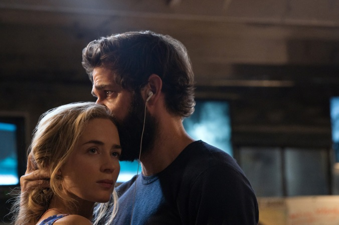 Left to right: Emily Blunt as Evelyn Abbott and John Krasinski as Lee Abbott in A QUIET PLACE, from Paramount Pictures.